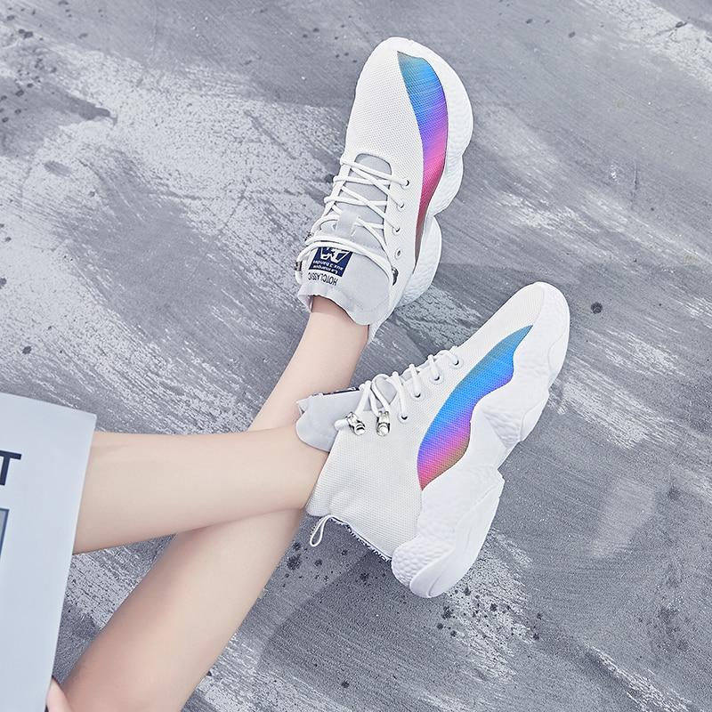 Women Sneakers Female Korean Version Color Thick Bottom White Black Ladies Casuals Footwear Women Run Shoes 20