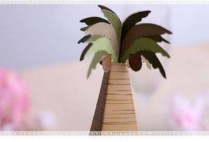 Image 4 - 100pcs/lot Wedding Favor Coconut Palm Tree Box Baby Shower Souvenirs DIY Wedding Palm Candy Box for Wedding Decoration