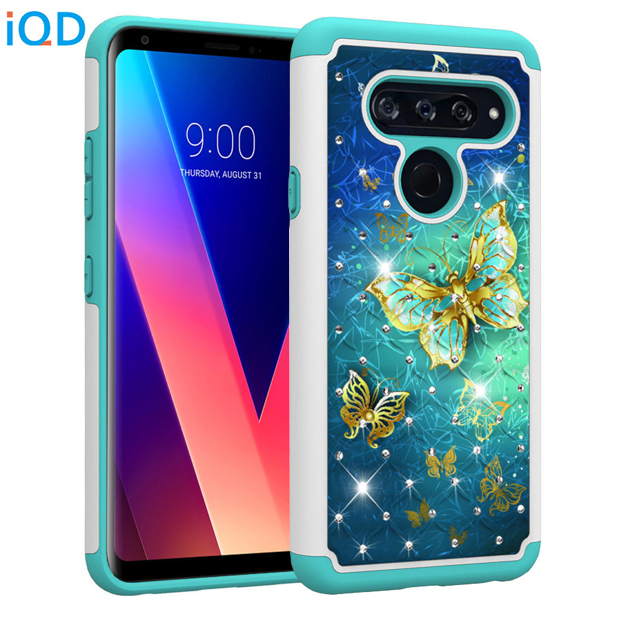 IQD Case For LG V40 ThinQ Q7 Plus Aristo 2 Plus Cover for LG K20 K8 V30 G7 K10 K30 Stylo 4 X Power 2 Rhinestone Case Double back
