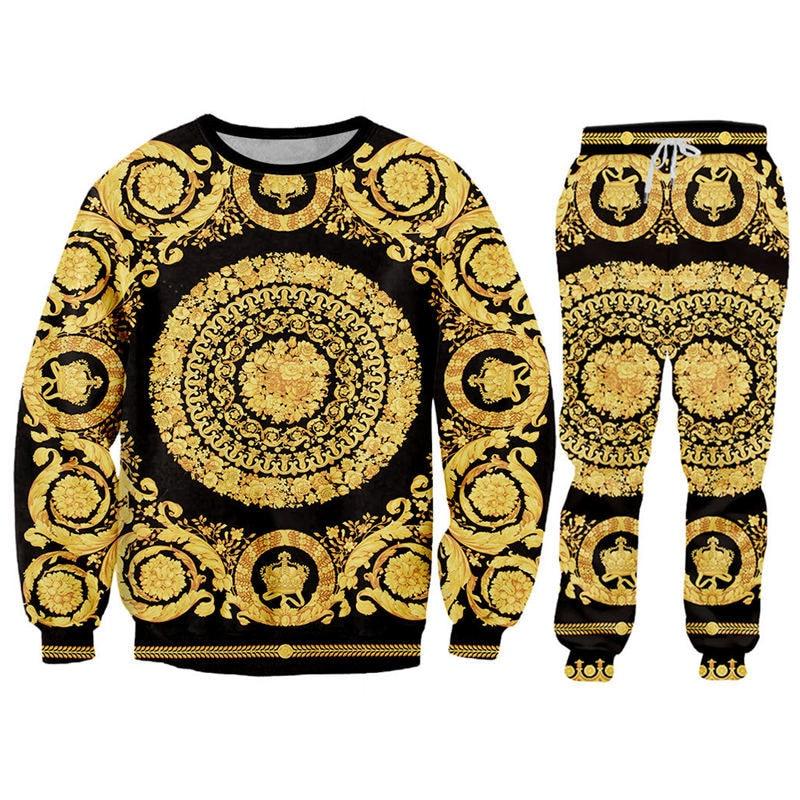 Luxury Floral Men's Casual Sweatshirts Sweatpants 2 Piece Sets Unisex Street Hip Hop