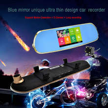 5.0 inch parking video recorder car camera android touch rearview mirror wifi gps navigator full hd 1080p car dvr dual lens