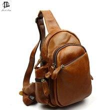 Marke Retro Stil Design Öl Wachs Echtem Leder Männer Cossbody Schulter Reisetasche mode Schlinge Taschen Reißverschluss Brust Tasche Pack