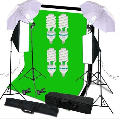 Ensemble de support de lumière de toile de fond de Kit d'éclairage de parapluie de Softbox continu de Studio 540 W-in Accessoires pour studio photo from Electronique    1