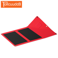 Tollcuudda Ultra Thin 14W Solar Panel Foldable Sunpower LCD Solar Charger Dual USB Waterproof For IPhone
