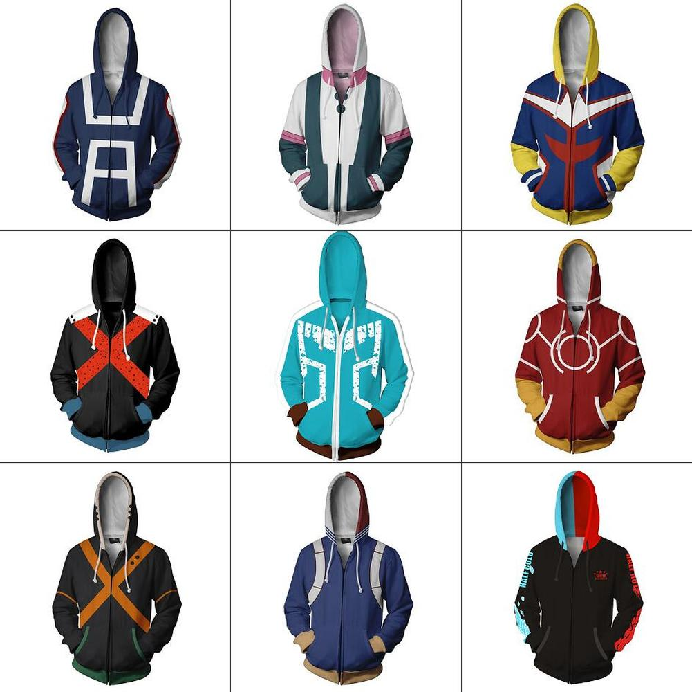 My Hero Academia Boku No Hero Academia 3D Printing Hoodie Zipper Sweatshirt Jackets Coat Cosplay Costumes Anime School Uniforms