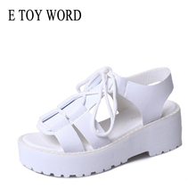 Купить с кэшбэком E TOY WORD Platform sandals woman 2019 Summer New Korean Fashion Thick-Soled Lace Up Beach Shoes womens sandals