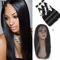 Cabelo liso brasileira com fechamento 360 lace frontal encerramento com bundles ms lula extensões de cabelo com encerramento e pacotes de cabelo