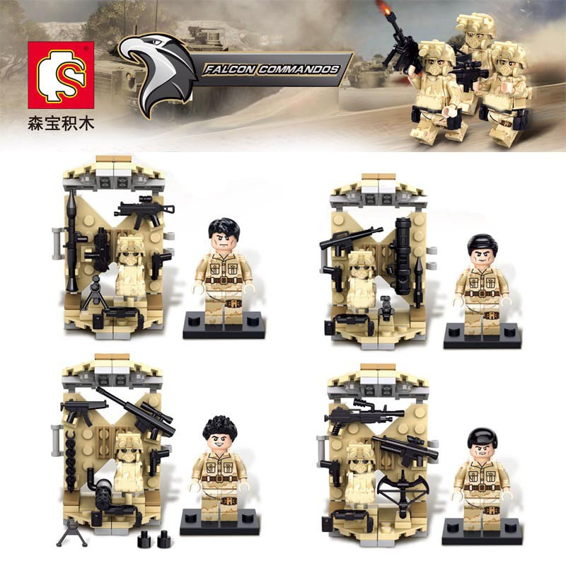 4PCS Desert Falcon Commandos War Army Soldiers Equipment Weapon Gun Building Blocks Compatible font b Legoes