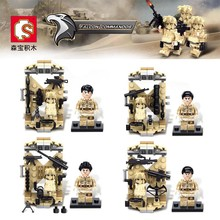 4PCS Desert Falcon Commandos War Army Soldiers Equipment Weapon Gun Building Blocks Compatible Legoes Military Minifigures WW2