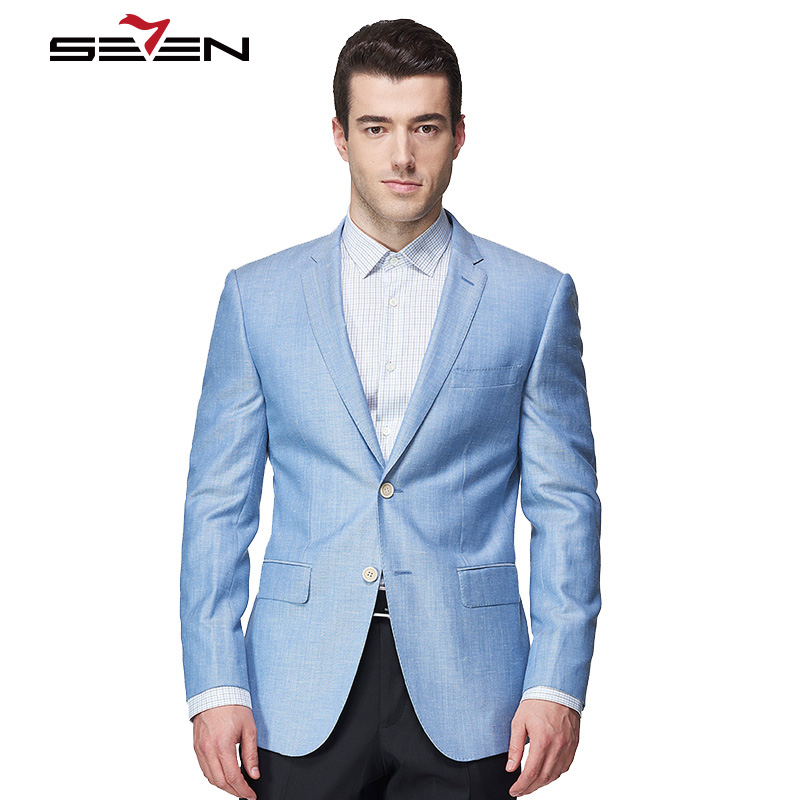 Seven7 Light Blue Fashion Casual Blazer Men Tailor Made Mens Linen Suit Jacket Summer Cu ...