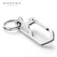 Modern Brand 2017 Titanium Steel Solid Men Key Chain With Bottle Opener Keychain Key Holder Ring