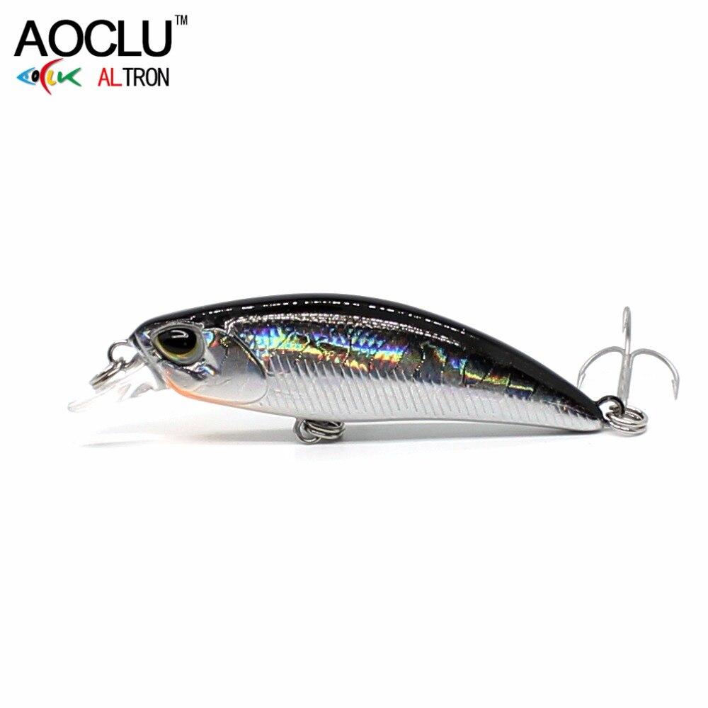 AOCLU Crank Fishing Lures Fresh-Salt Minnow Hard-Bait Water-Tackle-Sinking Hooks Bass