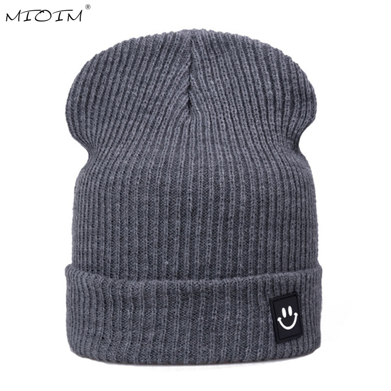MIOIM New Winter Smile Face Patch Hat Women Men Beanies6 Colors Solid Casual Caps Knitted Warm Ski Skullies Unisex Lovers Hats 2 oslamp 52 500w led offroad light bar cree chips combo beam led work light for jeep truck atv suv pickup 4wd 4x4 led bar 12v 24v