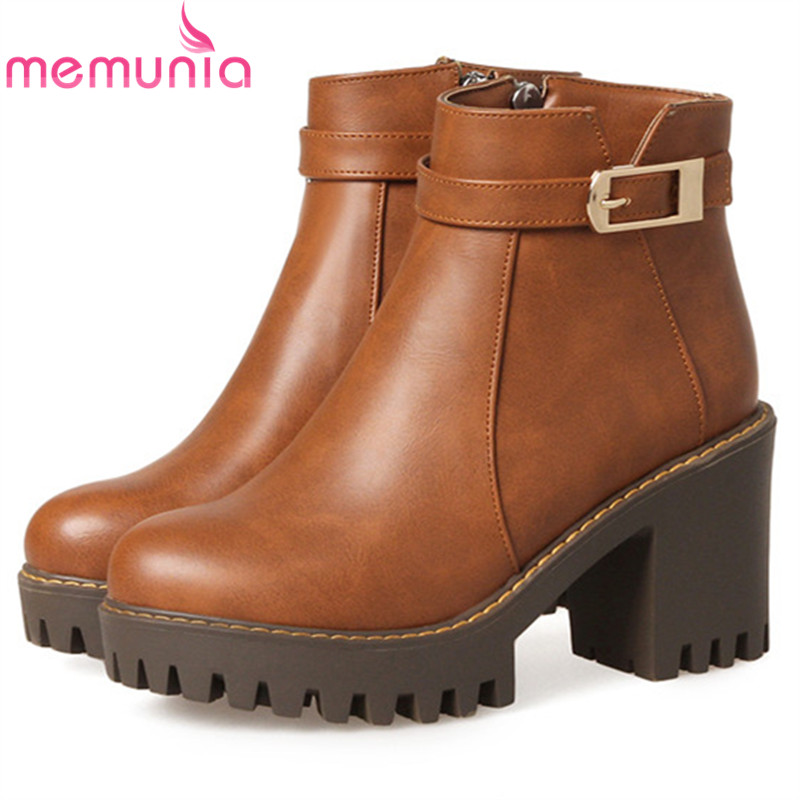 MEMUNIA Big size 34-44 high heels shoes woman PU soft leather platform boots female zip solid ankle boots for women round toe