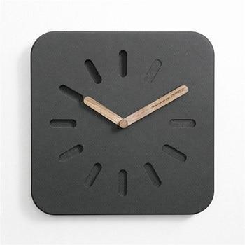 Fashion Modern MDF Board Wall Clock Nordic Minimalist Square Round Black Gray Artistic Silently Suzuki Clock for Cafe Home Decor