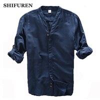 SHIFUREN 2017 New Spring Men Causal Shirts Long Sleeve Soft Breathable Linen Cotton Mens Dress Shirts
