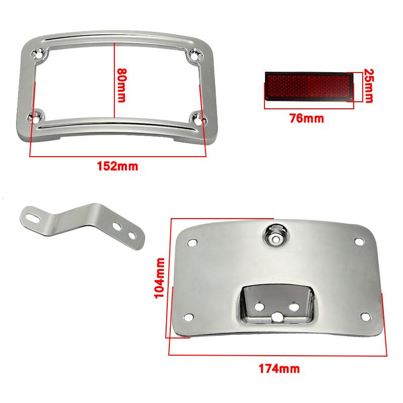 Chrome/Black Aluminum Motorcycle After License Plate Frame Bracket ...