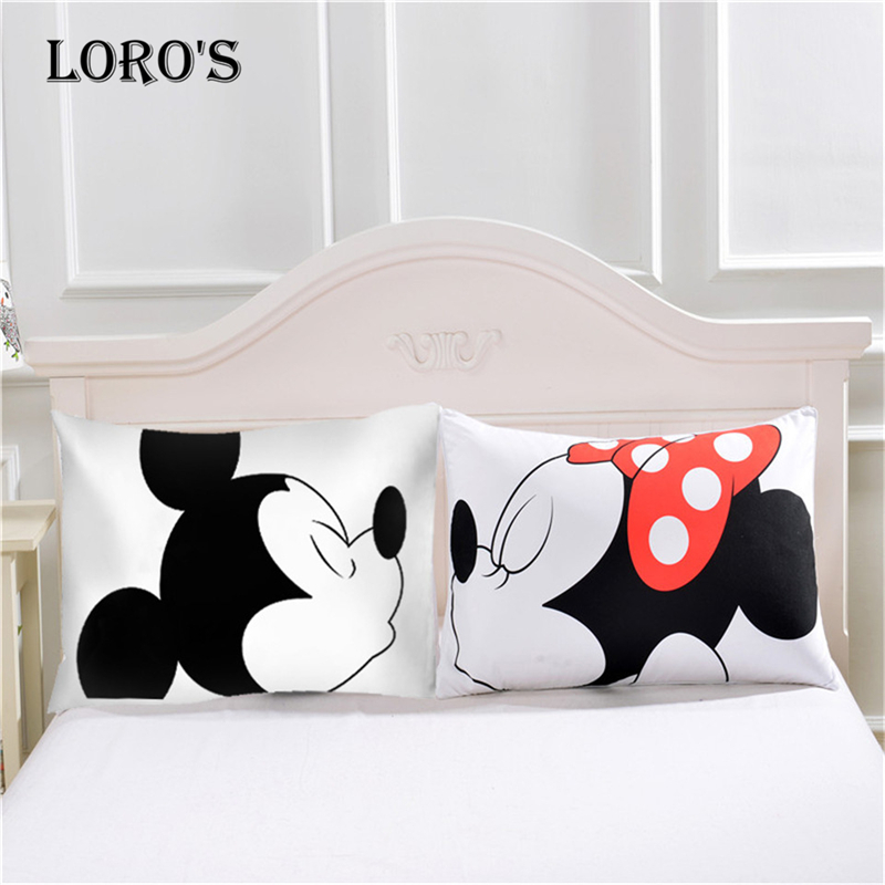 Cartoon Mickey Mouse Pillow Case White Couple Lovers Gift Pillow Throw Pillowcases Home Beddroom Two Pair Pillows Bedding Set