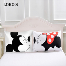 Cartoon Mickey Mouse Pillow Case White Couple Lovers Gift Pillow Throw Pillowcases Home Beddroom Two Pair