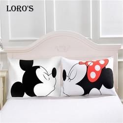 Mickey mouse dos desenhos animados travesseiro caso branco casal amantes presente travesseiro lance fronhas casa beddroom dois par travesseiros conjunto de cama