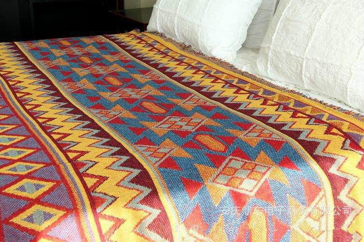 ผ้าฝ้ายโบฮีเมียนุ่มสามชั้นข้นผ้าห่มแฟชั่นโยนบนโซฟา/เตียงผ้าห่มตาราง/เครื่องบินผ้าห่มลายปกเปียโน-ใน ผ้าห่ม จาก บ้านและสวน บน   2