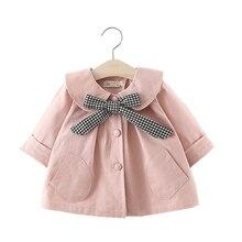 Новинка; ветровка для новорожденных; Детское пальто в клетку с галстуком-бабочкой; Верхняя одежда для маленьких девочек; Цвет хаки, розовый; цветная куртка; хлопковые куртки для младенцев