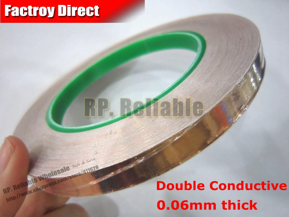 (5mm*30M*0.06mm Thick) Double Sided Conductive, Copper Foil Tape EMI Masking Electromagnetic Shielding Electrostatic Discharge 6mm 30m 0 06mm thick emi shielding copper foil tape double sided conductive single adhesive