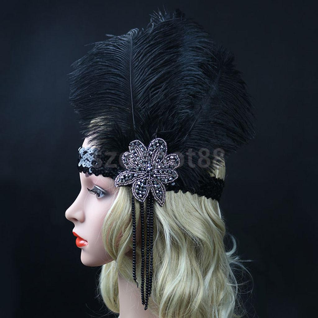 Phenovo Black Crystal Sequins Headpiece Vintage Headband