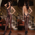 Mujeres Lencería Sexy de Encaje Sin Espalda Sujetador Abierto Jumpsuits tentación de seda negro medias Del Cuerpo sexy medias de rejilla Transparente