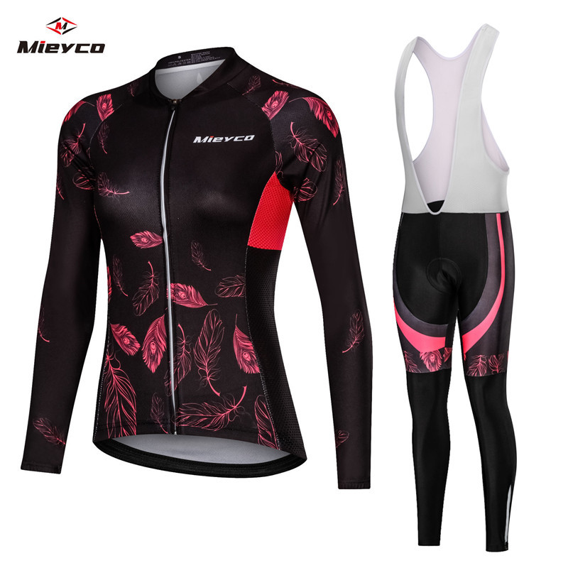 Pro Cycling Jersey Set Woman Mtb Bike Clothes Fall Summer Bicycle Clothing Cycling Set 2019 Ciclismo Ropa Sporty Set Bib Pants
