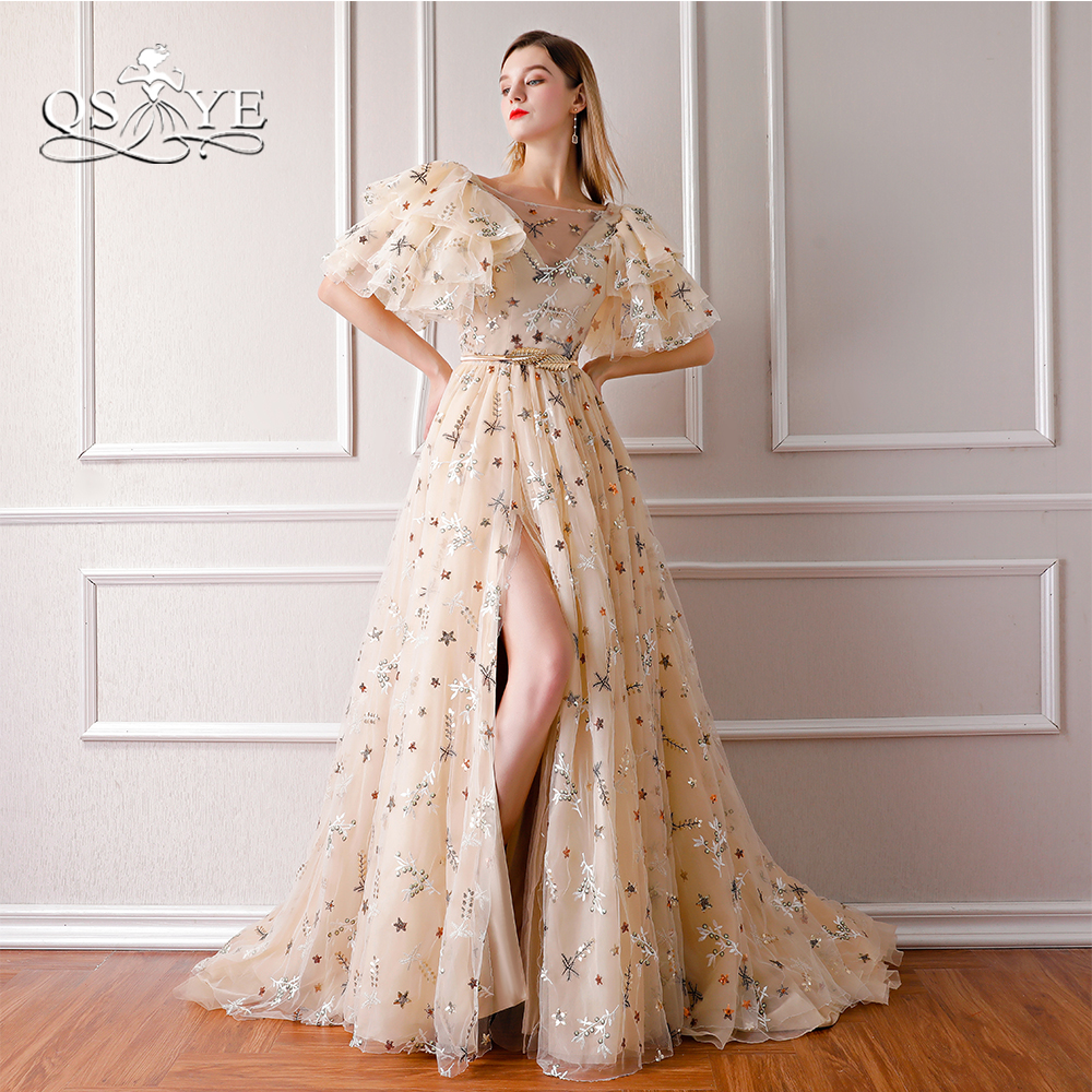 QSYYE 2018 New Arrival Vintage Evening Dresses Sexy High Slit 3D Lace Flower V Neck Long Prom Dress Party Gown Robe de Soiree