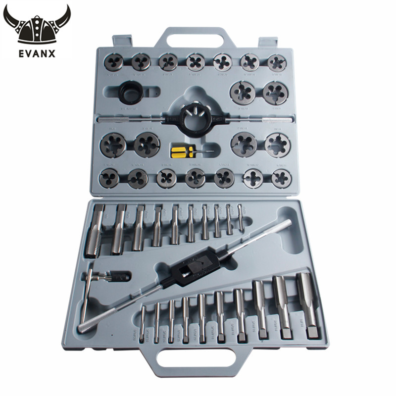 EVANX 45pcs/set Tap And Die Set Inch Screw Taps Holder Thread Plug Wrench Threading Hand Tools 20pcs m3 m12 screw thread metric plugs taps tap wrench die wrench set
