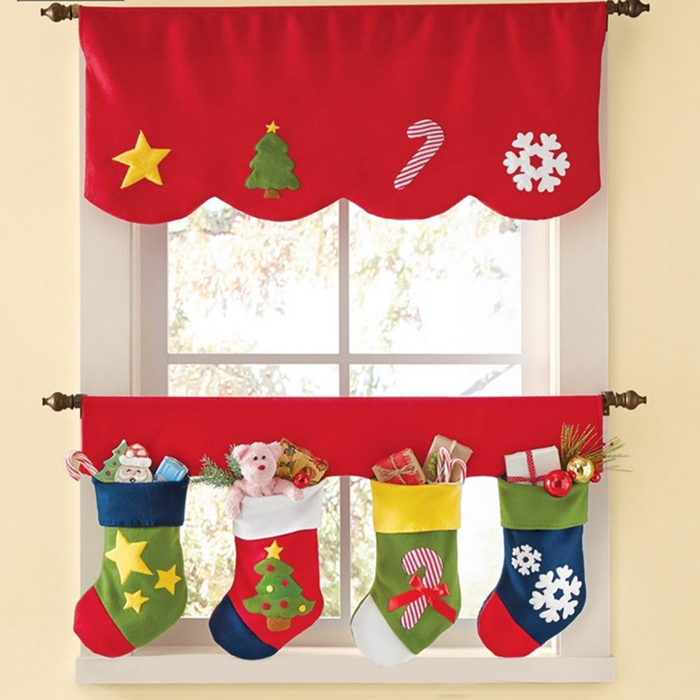 Christmas valances - Festnight 2pcs Window Curtains Christmas Decoration Favor Gift Pennant Bunting Valance Christmas Decoration Supplies China