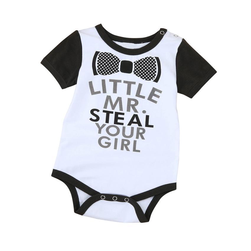 Детское боди Белый Мода с буквенным принтом короткий рукав комбинезон Тедди наряды пуловер милые Повседневное тела Infantil