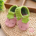 2016 new spring Fashion strawberry fringe baby shoes New Genuine leather tassel baby moccasins soft sole moccs newborn prewalker