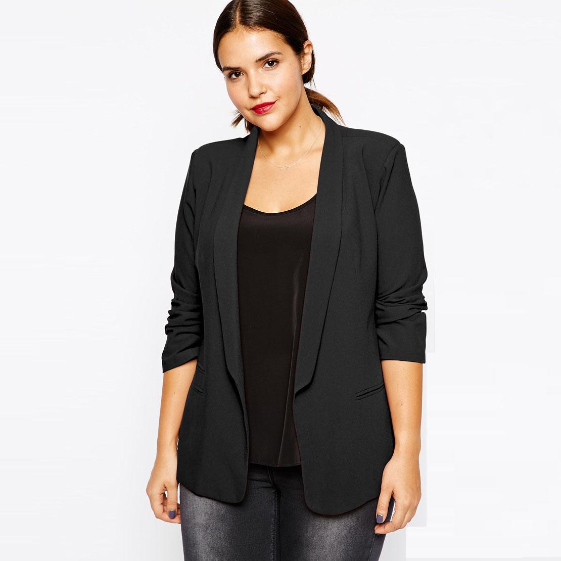 Plus Size Women Clothing Black Blazer in Crepe with Slim Lapel Office Women Blazers And Jackets Basic Workwear 4XL 5XL 6XL 7XL