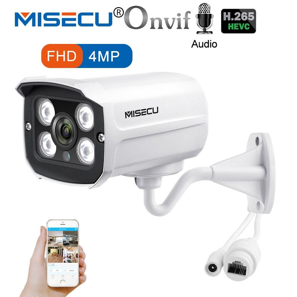 MISECU H.265 POE IP Caméra 4MP Enregistrement Audio 4 pcs LED Array Caméra Extérieure Étanche Email D'alerte Motion Onvif P2P nuit Vision
