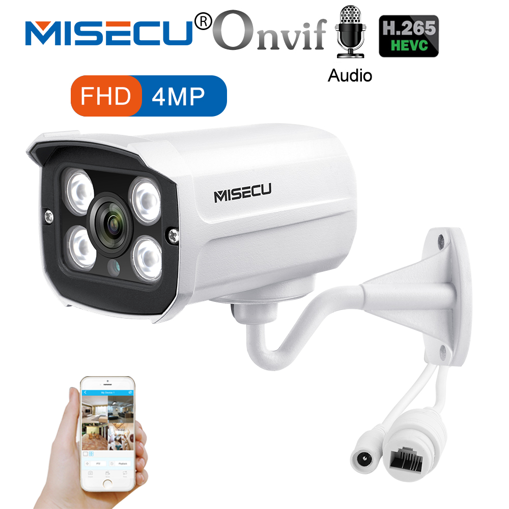 MISECU H.265 POE IP caméra 4MP enregistrement Audio 4 pièces tableau caméra LED extérieur étanche Email alerte mouvement Onvif P2P Vision nocturne