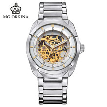 2016 new authentic ORKINA hollow keel stainless steel automatic mechanical watches fashion waterproof man brand luxury