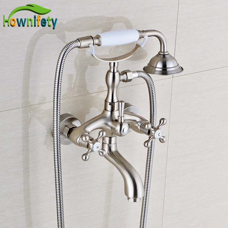Wall Mount Solid Brass Bathtub Faucet Double Handle Swivel Spout Mixer Tap with Ceramics Hand Sprayer Nickel Brushed