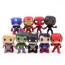 DC Super Heroes Avengers Captain America Iron Man Spiderman Black Panther Thor PVC Action Figure Toys 9pcs/set