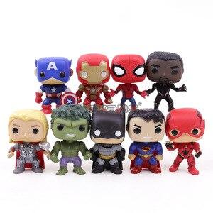 Image 1 - Экшн фигурки супергероев DC, Мстители, Капитан Америка, Железный человек, Человек паук, Черная пантера, Тор, ПВХ, 9 шт./компл.