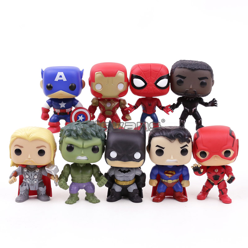 Marvel DC Super Heroes Avengers Captain America Iron Man Spiderman Black Panther Thor PVC Action Figure Toys 9pcs/set saintgi marvel avengers assemble iron man tony stark animated doll super heroes 15cm pvc action figure collection model toys