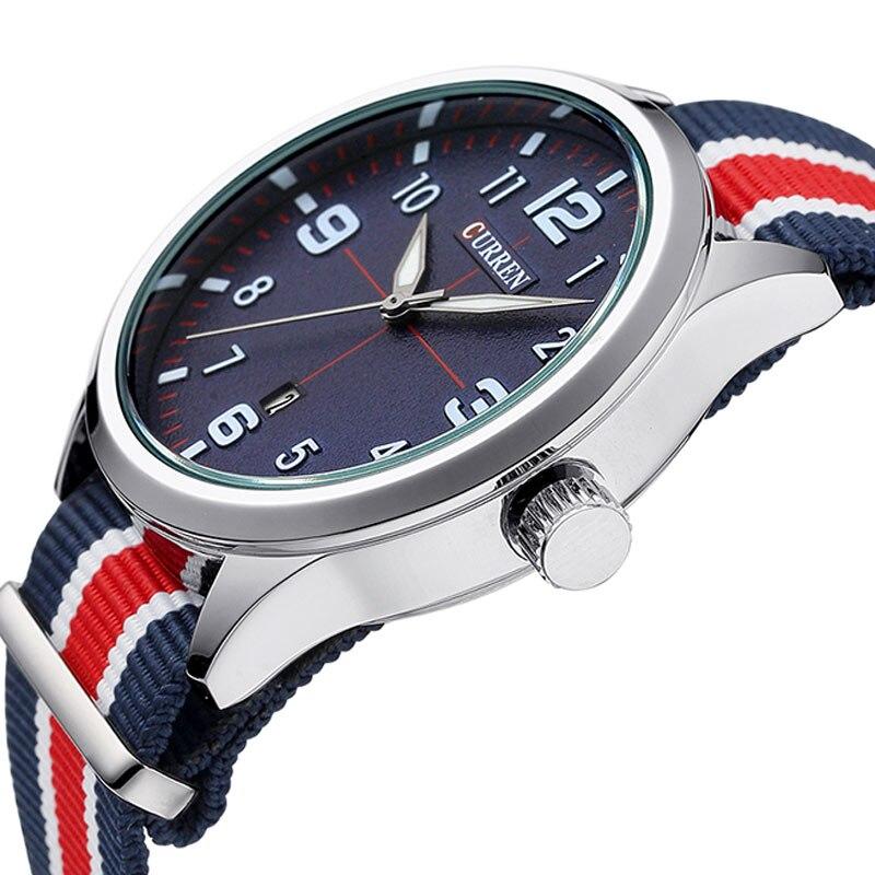 Prix pour Nouveau curren montres hommes top marque de luxe mens nylon sangle montres hommes de quartz populaire montres de sport relogio masculino 8195