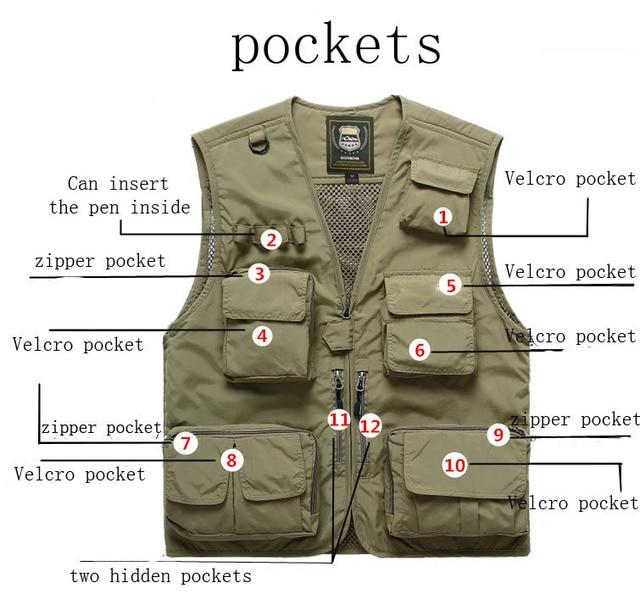 Fishing Vests Quick Dry Breathable Multi Pocket Mesh Vest Sleeveless Jackets Unloading Photography Hiking Vest Fish Vest,GA283 4