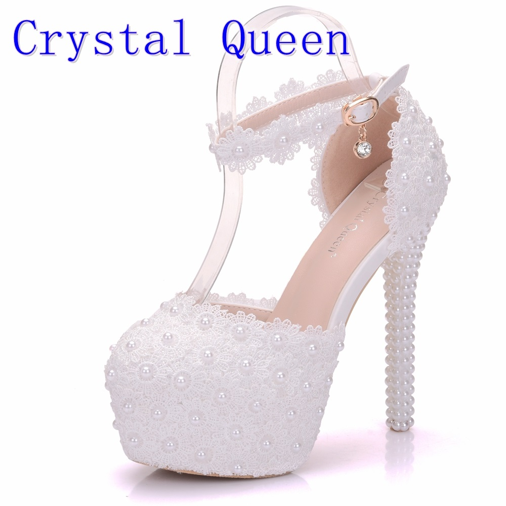 Crystal Queen White Lace Flower Bridal Shoes 14CM High Heel Round Toe Wedding Pumps Ankle Straps Women Sandals Bridesmaid Shoes fashion white lady peep toe shoes for wedding graduation party prom shoes elegant high heel lace flower bridal wedding shoes