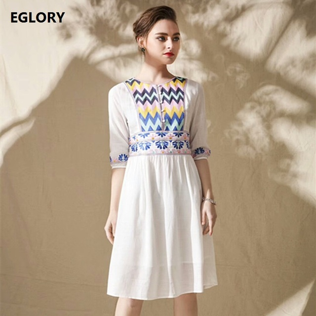 e98827b8dba Spring Summer Dress 2018 High Quality Women Vintage National Style  Embroidery Black White Casual Cotton Linen Dress Plus Size