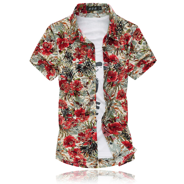 42fb8f72 High Quality Fashion Men Short Sleeve Silk Hawaiian Shirt Plus Size 4XL 5XL 6XL  7XL Summer Casual Floral Shirts Men