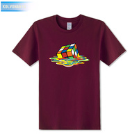 KOLVONANIG 2019 Summer Rubik's Cube Dissolving Stylish Design Print T Shirt Male Short Sleeve T-Shirts Dabbing Men Patchwork Top