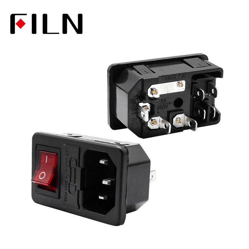 10A 250VAC 3 Pin IEC320 C14 Inlet CONNECTOR Plug Soket Listrik dengan Merah Lampu Rocker Switch 10A Fuse Holder Socket male Connector